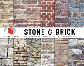 Stone Digital Paper, Brick Digital Paper, brick wall, stone wall, rock wall, rustic, country, city, grunge photography backdrop 8091