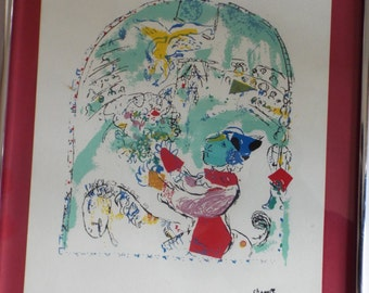 1960s Chagall clown le cirque   lithograph framed signed in plate expressionist kids room decor circus art