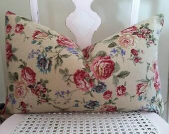 Decorative Pillow Cover, Home Decor, Linen Blend, Floral