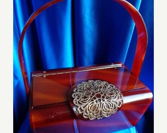 SALE VINTAGE Wilardy Tortoise Swirl LUCITE Purse with Gold Filigree Embellishment on Lid  b29
