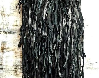 Bag black fringed leather