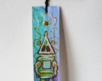 Retro Robot Hand-Painted Original Art Bookmark