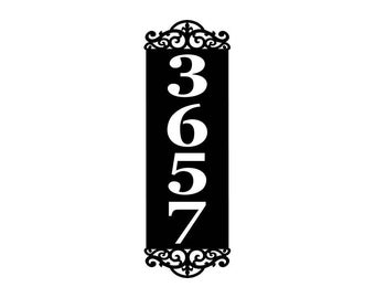Scroll Vertical Personalized Address Metal Sign - Custom Address sign