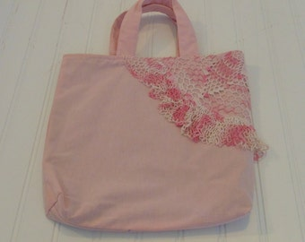 Vintage Tote Bag Purse Upcycled Handbag Shabby Chick Pink Purse