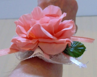 Vintage Pink Floral Wrist Corsage 1950's With Lace Vintage Corsages Flower Millinery Flower