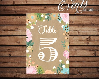Table Numbers - Mixed Floral 210