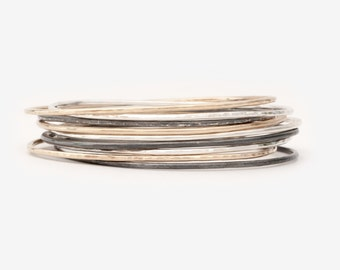 Stacking Bangle Bracelet - 14K Gold and Sterling Silver - Timeless Collection - Asymmetric Bangles