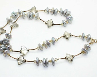 Glorious Sterling Silver COIN PEARL Smokey Cut Crystal Rhinestone NECKLACE-Designer- Vintage Estate Jewelry-Etruscan