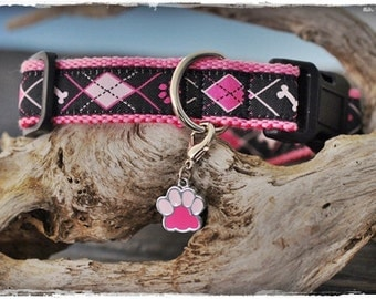 Argyle ribbon dog collar for small to medium-sized dogs