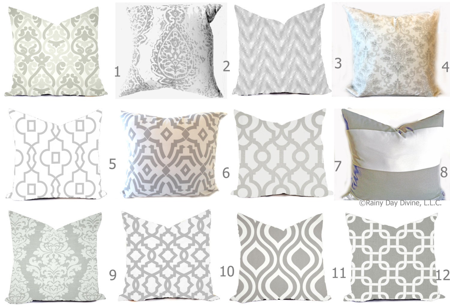Grey Pillow Covers Grey and White Throw Pillows Decorative