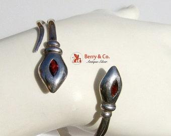SaLe! sALe! Snake Bracelet Bangle Bracelet Sterling Silver Garnet