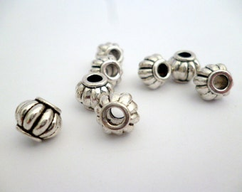 Silver Metal Large Hole Beads_R068687BPBG_ARB_Of:9x7 mm_hole 3 MM_Pack 25 pcs