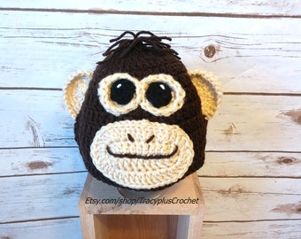 Monkey hat. Monkey beanie. Crochet Monkey hat. Crochet Monkey beanie. Handmade Monkey hat.
