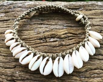 Handmade Hemp Macrame Shell Necklace with Cowrie Shells, Bohemian Gypsy