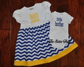 Big Sister Little Brother Set - Big Sister Dress Bodysuit Set - Long or Short Sleeve Blue and Yellow - Baby Gift - Coming Home Outfit
