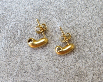 Gold Plated Stud Earrings - Satin Finish 24K Gold Plated Sterling Silver Jellybean Stud Post Earrings With One Loop For Adding Dangles