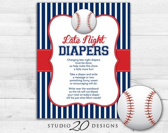 Instant Download Baseball Late Night Diapers, 8x10 Red Blue Baseball Diaper Thoughts, Boy Baby Shower Decorate a Diaper Activity 68A