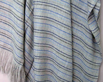 Wool Throw Blanket, Our Cote D Azure is Soft and Luxurious,  No Synthetics or Chemical Dyes