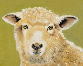 Sheep Giclee Print - Quality  Print  From Painting, Farm Animal Art, Green Beige, Square Prints, Animal Artist, Sheep Prints