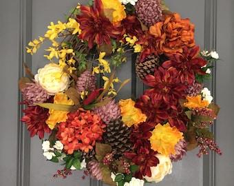 Front Door Wreaths, Autumn Front Door Wreath, Rustic Wreath, Fall Wreath, Front Door Wreath, Autumn Wreath, Thanksgiving Wreath