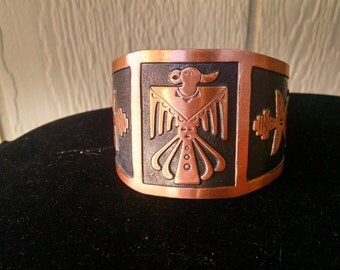 Vintage solid copper Lady's Southwestern Mexico Aztec cuff bracelet with ceremonial bird