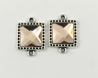 2 square connector silver tone and glass cabochon 20mm x 27mm .CON 006