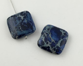 2 dark blue impression jasper stone beads  /  20 mm  #PP 104