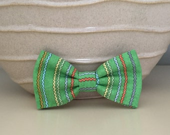 Dog Bow / Bow Tie - Lime Green Multi Color Stripes