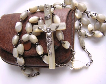 Antique religious rosary,  Mother of pearl beads, central heart & cross too, with leather pouch, 17.72""