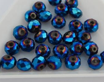 Blue Crystal Glass Beads