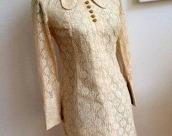 1960s Cotton Lace Mod Mini Dress (S Fit)
