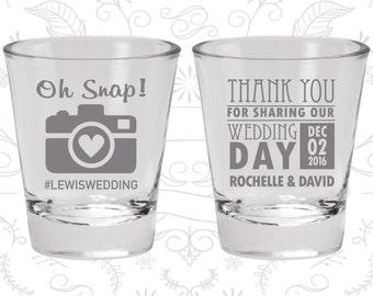 Oh Snap Shot Glasses, Imprinted Glass, Hashtag Wedding Shot Glasses, Camera, Thank you for Sharing Our Wedding Day, Wedding Shot Glass (44)