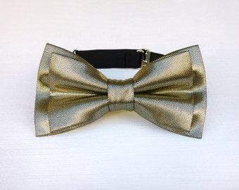 Metallic gold bow tie. Gold grooms bow tie rustic glam wedding