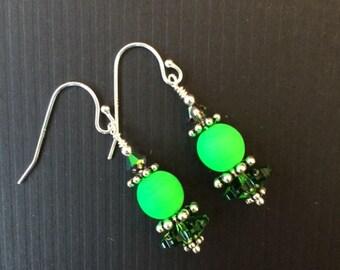 Green Swarovski Crystal Drop Earrings (E5)