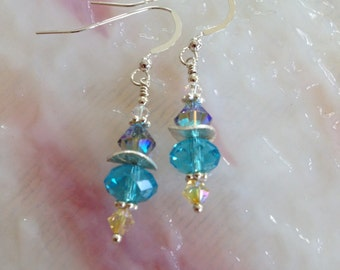 Sterling Silver and Azure Toned Crystal Earrings (E16)