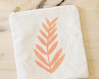 small zip pouch bahama melon soft orange fern block print tropical makeup bag