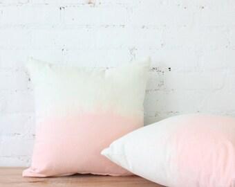 DIP DYE PILLOWS - peach and seafoam dip dyed pillows
