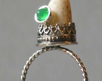 Antler Ring With Green Chrysoprase