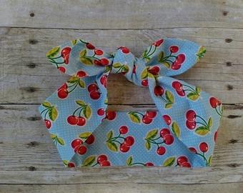 Blue cherries headband bandana top knot hair bow made by FlyBowZ!