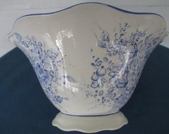 Vintage Portuguese Blue Floral  Porcelain Serving Bowl Marked Pereiras Country Kitchen Dinnerware Serving Bowls Soup Salad Bowls