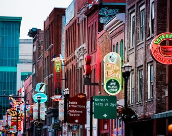 "Nashville Art, Photography, Nashville Sign, Neon Sign, Street Art, Downtown Nashville, Country Music, Broadway Print ""Nightlife"""