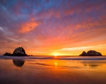California Ocean Sunset Photograph Art - Stunning Sunset Sky along West Coast California Beach - Ocean Beach Art - California Print