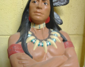 American Indian Warrior statue Ceramic Indian Warrior Gift for her Southwestern art  FREE SHIPPING Indian art decor Western Lodge decoration