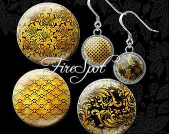 Golden pattern Gold - Digital Collage Sheet 20mm 18mm 16mm 14mm 12m circle Jewelry.Scrapbooking Glass Pendants Bottlecaps Printable Download