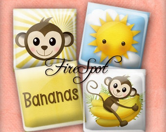 Monkey SUN Banana - Digital Collage Sheet 1.5inch,1 inch,25 mm,20 mm Square printable images.Glass Pendant.Bottlecaps,Scrapbooking,gift