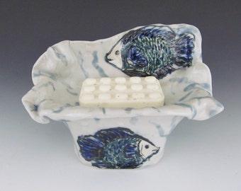 Blue Fish Soap Dish / Sponge Dish / Ceramic Sculptured Soap Dish