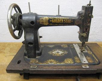 Sewing Machine, Sew, Vintage Sew, Sewing Machine Head, Golden Star