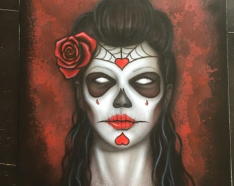 Day of the Dead Girl Canvas Painting