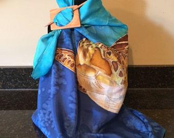Sea Turtle - Hand Painted Silk Scarf