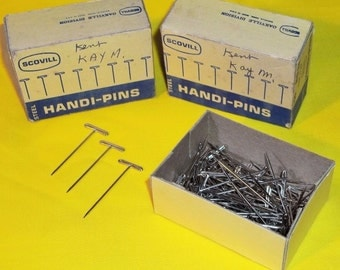 2 Boxes Vintage SCOVILL Steel Handi-Pins (Total of 200 Pins) Made in the USA
